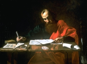 (Probably) Valentin de Boulogne (ca 1594-1632), Saint Paul Writing His Epistles (c. 1618-20)