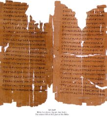 Septuagint manuscript from The Schoyen Collection (#2649) containing a portion of Leviticus from second century Egypt - one of the oldest surviving manuscripts of this part of the Bible.