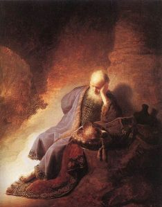 Jeremiah lamenting the destruction of Jerusalem. Rembrandt (1630)