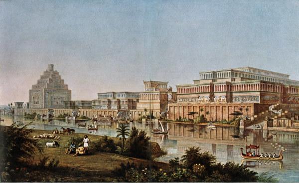 Ninive, Koenigspalast / nach Layard - Nineveh, Assyrian palace / watercolour -