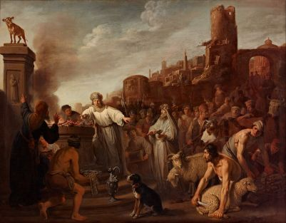 Jeroboam sacrificing to his idol, oil on canvas by Claes Corneliszoon Moeyaert, 1641