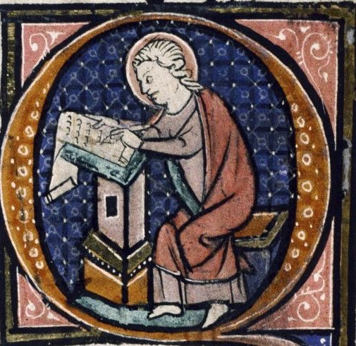 St. John (depicted as a scribe) from Bodleian Library MS Auct. D. 1.17