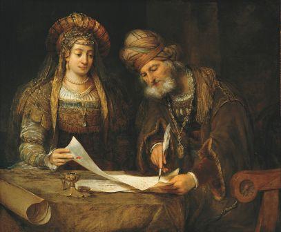 1450px-Ester_y_Mardoqueo_escribiendo_la_primera_carta_del_Purim_(Ester,_9-20-21)_-_Aert_de_GELDER_-_Google_Cultural_Institute